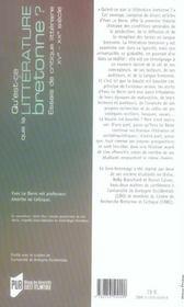Qu'Est-Ce Que La Litterature Bretonne. Essais De Critique Litteraire Xv-Xx Siecles - 4ème de couverture - Format classique