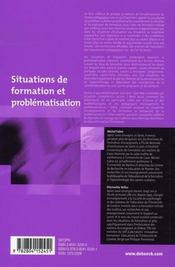 Situations de formation et problématisation - 4ème de couverture - Format classique