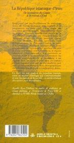 La république islamique d'Iran ; de la maison du guide à la raison d'Etat - 4ème de couverture - Format classique