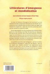 Litteratures D'Emergence Et Mondialisation - 4ème de couverture - Format classique