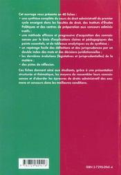 Le Droit Administratif En Fiches Premier Cycle Universitaire Iep Concours Administratifs - 4ème de couverture - Format classique