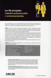 Les 100 principales maladies professionnelles et environnementales - 4ème de couverture - Format classique