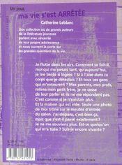 Un Jour, Ma Vie S'Est Arretee - 4ème de couverture - Format classique
