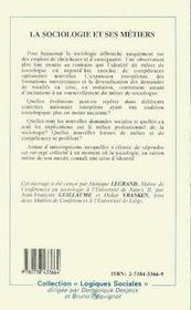 La Sociologie Et Ses Metiers - 4ème de couverture - Format classique