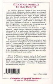 Education Familiale Et Beau-Parente ; L'Empreinte Des Trajectoires Biographiques - 4ème de couverture - Format classique