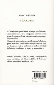 Geographie - 4ème de couverture - Format classique