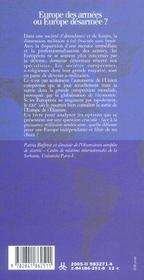 Europe Des Armees Ou Europe De - 4ème de couverture - Format classique
