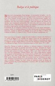 Balzac et le politique - 4ème de couverture - Format classique