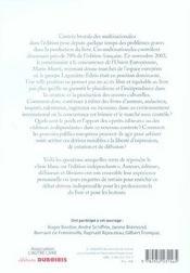 L'Edition Menacee Livre Blanc Sur L'Edition Independante - 4ème de couverture - Format classique