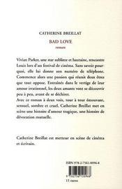 Bad Love - 4ème de couverture - Format classique