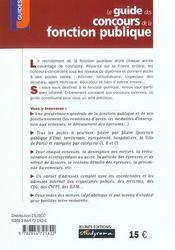Le guide des concours de la fonction publique (édition 2002) - 4ème de couverture - Format classique