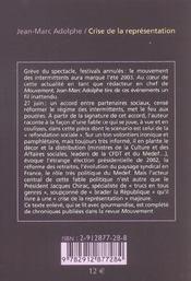 Crise De La Representation - 4ème de couverture - Format classique
