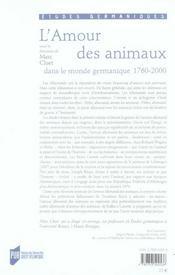 L'amour des animaux dans le monde germanique ; 1760-2000 - 4ème de couverture - Format classique