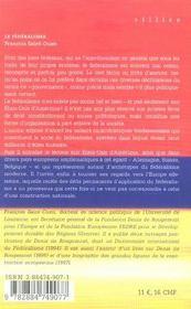 Le Federalisme - 4ème de couverture - Format classique