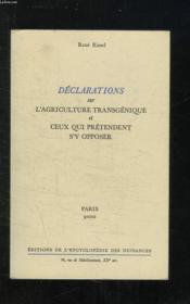 Declarations Sur Agric.Transg. - Couverture - Format classique