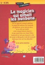 Le magicien qui aimait les bonbons ; et autres sketches ; 6/8 ans - 4ème de couverture - Format classique