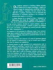 La Communication Orale Scientifique En Anglais Guide Pratique A L'Usage Des Sciences De La Vie Sante - 4ème de couverture - Format classique