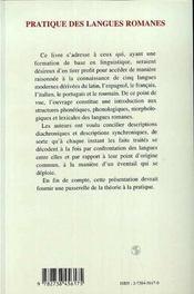 Pratique Des Langues Romanes - 4ème de couverture - Format classique