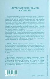 Les Mutations Du Travail En Europe - 4ème de couverture - Format classique