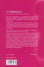 La sublimation - 4ème de couverture - Format classique