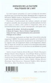 Espaces De La Culture Politique De L'Art - 4ème de couverture - Format classique