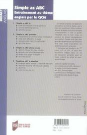 Simple as abc. entraînement au thème anglais par le qcm - 4ème de couverture - Format classique