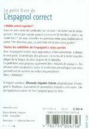 Le Petit Livre ; L'Espagnol Correct - 4ème de couverture - Format classique
