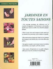 Jardiner En Toutes Saisons (Petit Format) - 4ème de couverture - Format classique