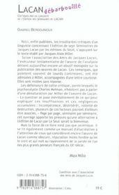 Lacan debarbouille - critiques par un linguiste de l'edition des seminaires de lacan - 4ème de couverture - Format classique