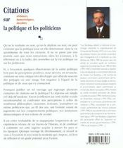Citations Sur La Politique - 4ème de couverture - Format classique