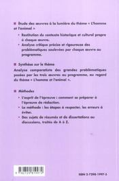 L'Homme Et L'Animal Prepas Scientifiques 2004-06 Les Oeuvres Et Le Theme La Fontaine Condillac Kafka - 4ème de couverture - Format classique