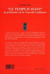 Le temps d'avant ; la préhistoire de la Nouvelle-Calédonie - 4ème de couverture - Format classique
