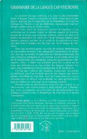 Grammaire De La Langue Cap-Verdienne ; Etude Descriptive Et Comprehensive Du Creole Afro-Portugais Des Iles Du Cap-Vert - 4ème de couverture - Format classique
