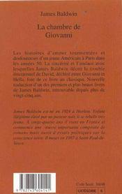 La chambre de Giovanni - 4ème de couverture - Format classique