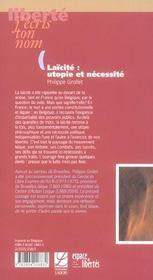 Laicite : Utopie Et Necessite - 4ème de couverture - Format classique