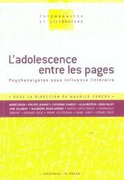 L'adolescence entre les pages ; psychanalystes sous influence litteraire - Intérieur - Format classique