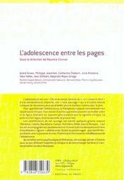 L'adolescence entre les pages ; psychanalystes sous influence litteraire - 4ème de couverture - Format classique