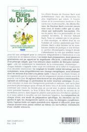 Manuel d'utilisation des elixirs floraux du dr bach - 4ème de couverture - Format classique