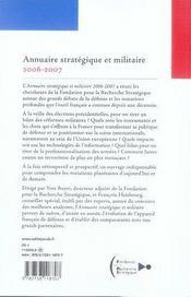 Annuaire stratégique et militaire 2006-2007 - 4ème de couverture - Format classique