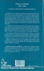 Sahara Occidental 1991-1999 ; L'Enjeu Du Referendum D'Autodetermination - 4ème de couverture - Format classique