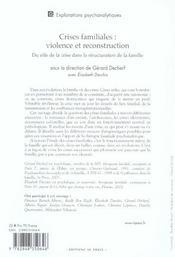 Les Crises Familiales : Violence Et Reconstruction - 4ème de couverture - Format classique