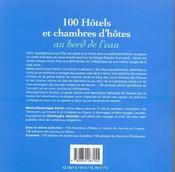 Cent Hotels Et Chambres D'Hotes Au Bord De L'Eau - 4ème de couverture - Format classique