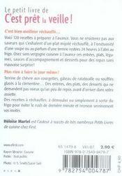Le Petit Livre De Cuisine ; C'Est Prêt La Veille ! - 4ème de couverture - Format classique
