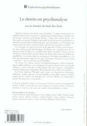 Le Destin En Psychanalyse - 4ème de couverture - Format classique