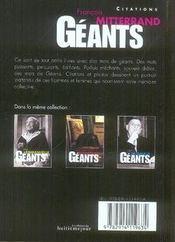 Francois Mitterrand - 4ème de couverture - Format classique