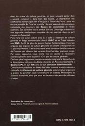 Elements De Culture Generale 100 Colles Et Sujets Pour Les Prepas Et Les Oraux Des Concours - 4ème de couverture - Format classique