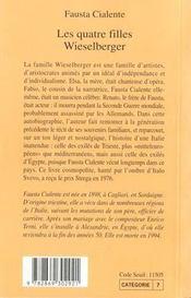 Les Quatre Filles Wieselberger - 4ème de couverture - Format classique