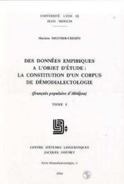 Des Données Empiriques A L'Objet D'Étude - Couverture - Format classique