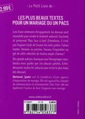 Les plus beaux textes pour un mariage ou un PACS - 4ème de couverture - Format classique
