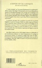 L'Infini Et Sa Logique ; Etude Sur Hegel - 4ème de couverture - Format classique